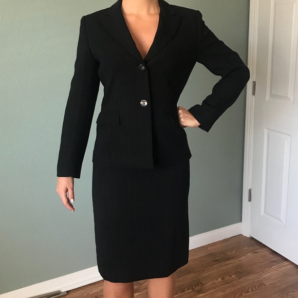 Tahari Jackets Coats Black Pinstripe Womens Skirt Suit Poshmark